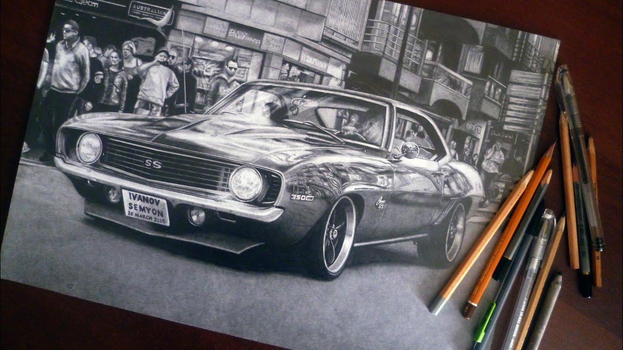 Как нарисовать ШЕВРОЛЕ КАМАРО Chevrolet Camaro Рисунок