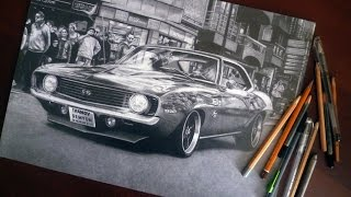 Chevrolet Camaro SS (1969) - Рисунок карандашом