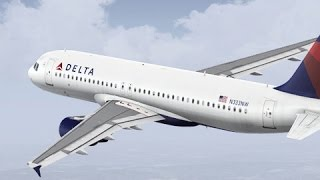 FSX HD Project Airbus 320 DELTA 6423 San Francisco to Los Angeles Full Flight Passenger Wing View