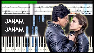 Janam Janam (Dilwale) Arijit Singh & SRK || Piano Tutorial + Music Sheet + MIDI with Lyrics