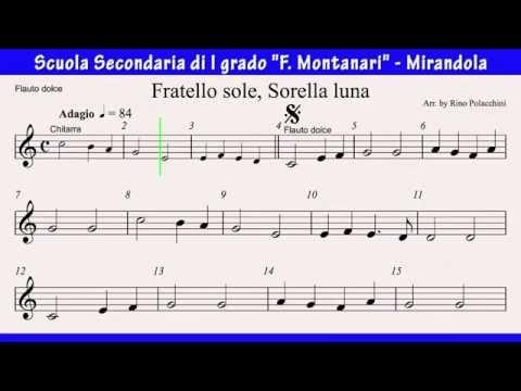Fratello Sole, Sorella Luna - Video spartito per flauto dolce (byAM)