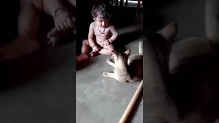 Cute baby playing with cat.