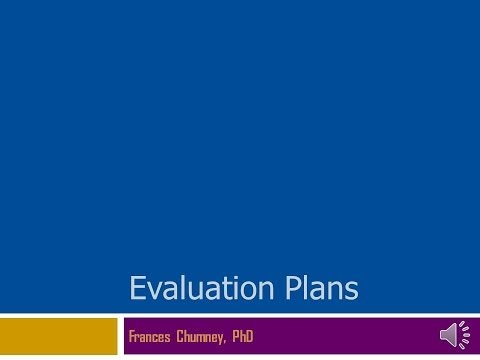Evaluation Plans: Content Outline