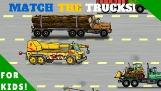 Match The Trucks!  Dump Truck, Garbage Truck, More! l For Kids