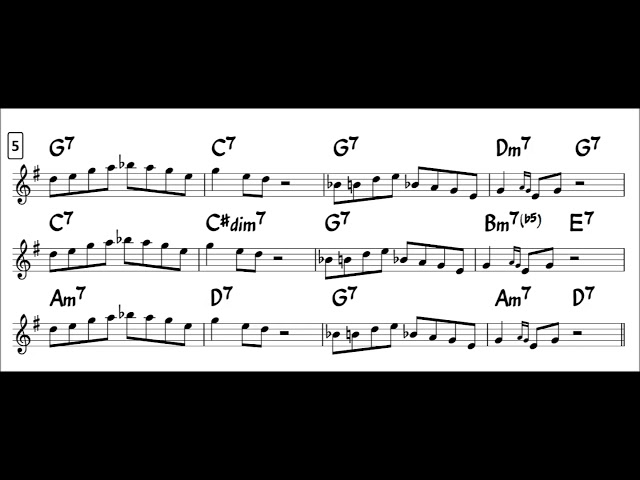 Blues in F - Easy Solo Example for Tenor Sax - Major Blues Scale -2