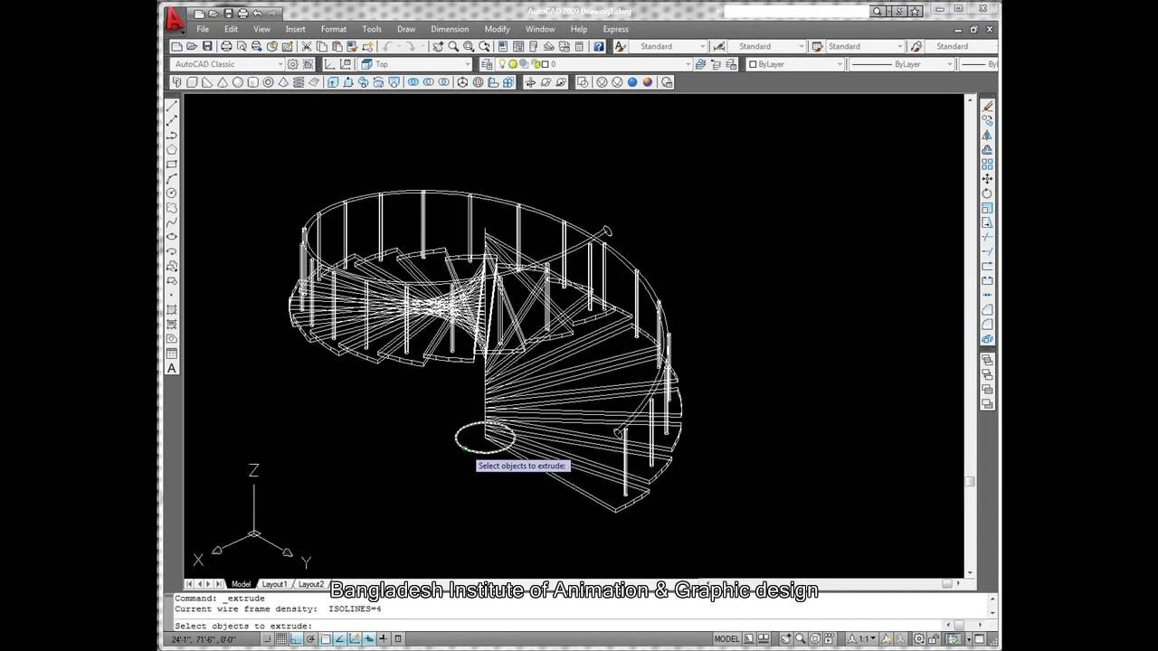 3d spiral stair by autocad 2009 youtube for Spiral stair dwg