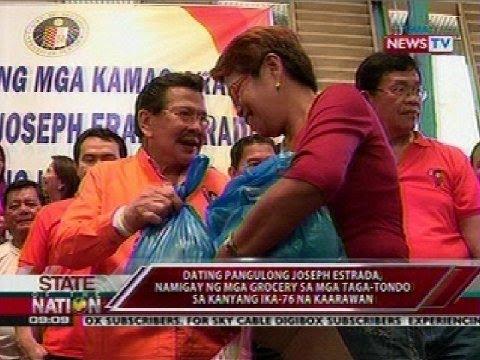 Erap, iginiit na walang nilabag na batas sa pamimigay ng grocery sa Tondo sa kanyang 76th birthday