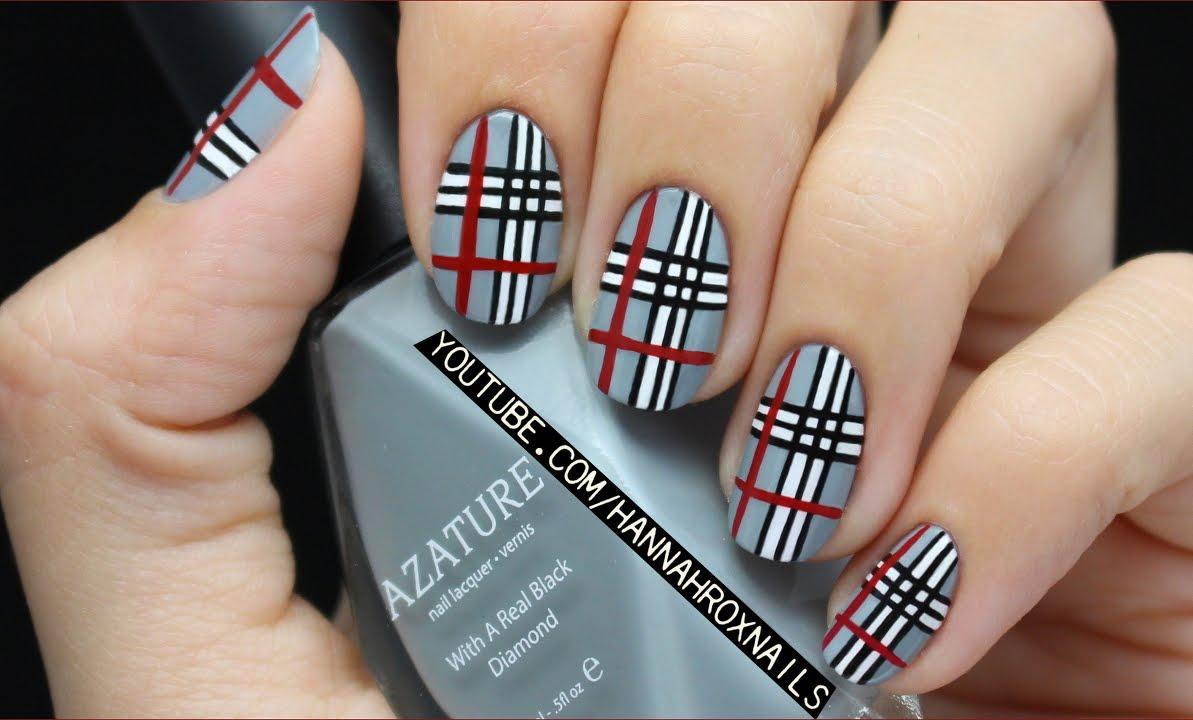 plaid nail art girls' life