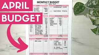 April Monthly Budget | Big Emergency Savings & Investing Small Amounts | Budget With Me