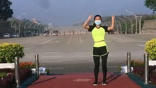 Aerobics instructor dancing through Myanmar Coup goes viral