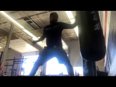 Is this guy stabbing a heavy bag!?