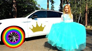 Polina as a princess going to a colorful party