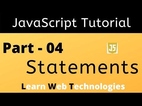 JavaScript Tutorial for Beginners - Part 4 | JavaScript Statements | Learn Web Technologies thumbnail