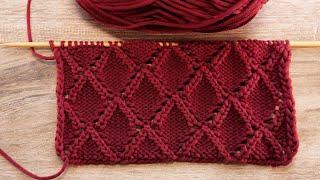 Узор Ромбы с двух сторон спицами ❤ Rhombuses on both sides knitting pattern