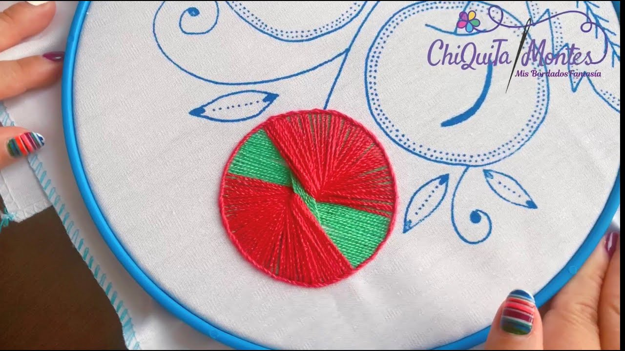 Bordado Fantasía Cereza 3 / Hand Embroidery Cherry with Fantasy Stitch