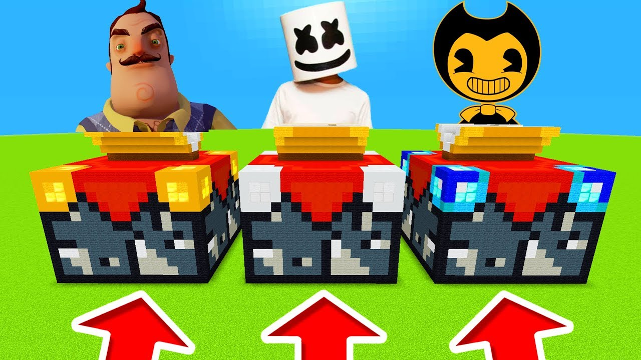 Minecraft Pe Do Not Choose The Wrong Enchantment Table Hello Neighbour Marshmello Bendy