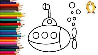 Раскраска для детей ПОДВОДНАЯ ЛОДКА. Мультик - Раскраска. Учим цвета II ОБУЧАШКА ТВ