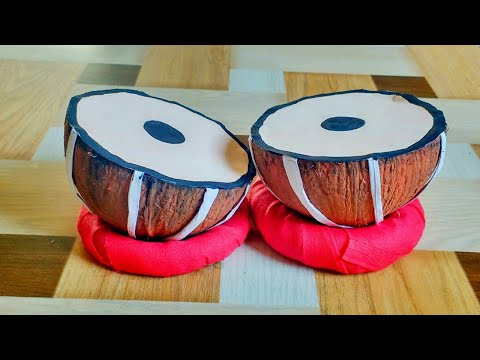 How To Make Mini Tabla | From Coconut Shell | Indian Instrument | DIY By Punekar Sneha.