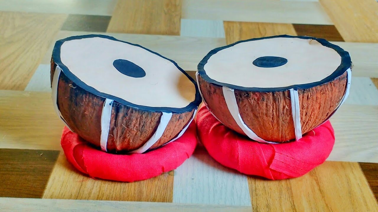 how to make mini tabla | from coconut shell | indian instrument