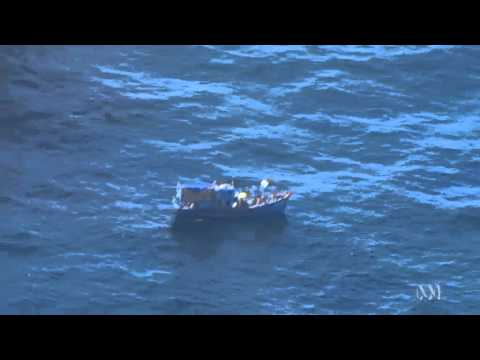 An asylum seeker boat arrives off Dampier coast, Western Australia
