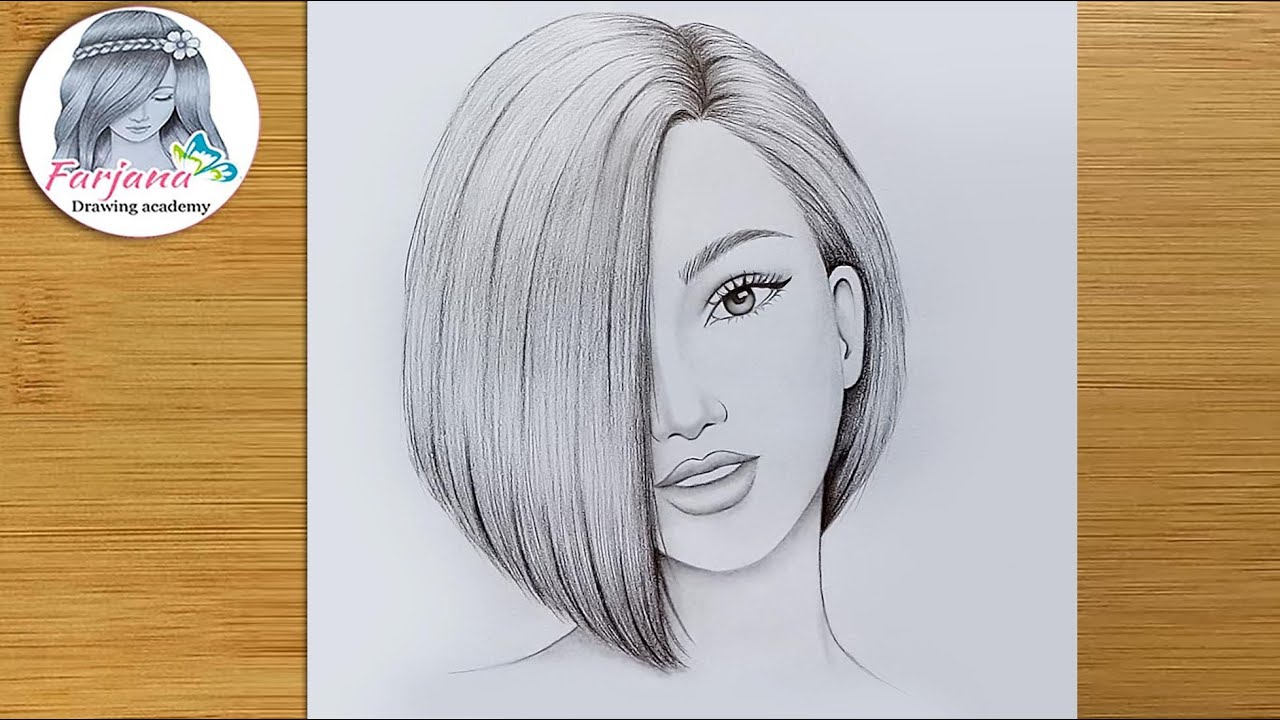 A Girl with Beautiful Hair - pencil sketch (Step by step) ||  How to draw Hidden Half Face of Girl