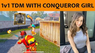 🔥1v1 TDM WITH CONQUEROR GIRL, THEY CHALLENGE FOR M24 ONLY IN TDM CAN WE WIN?