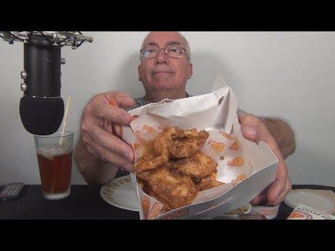 ASMR Eating Popeye's Blackened Chicken Tenders and Banana Pie