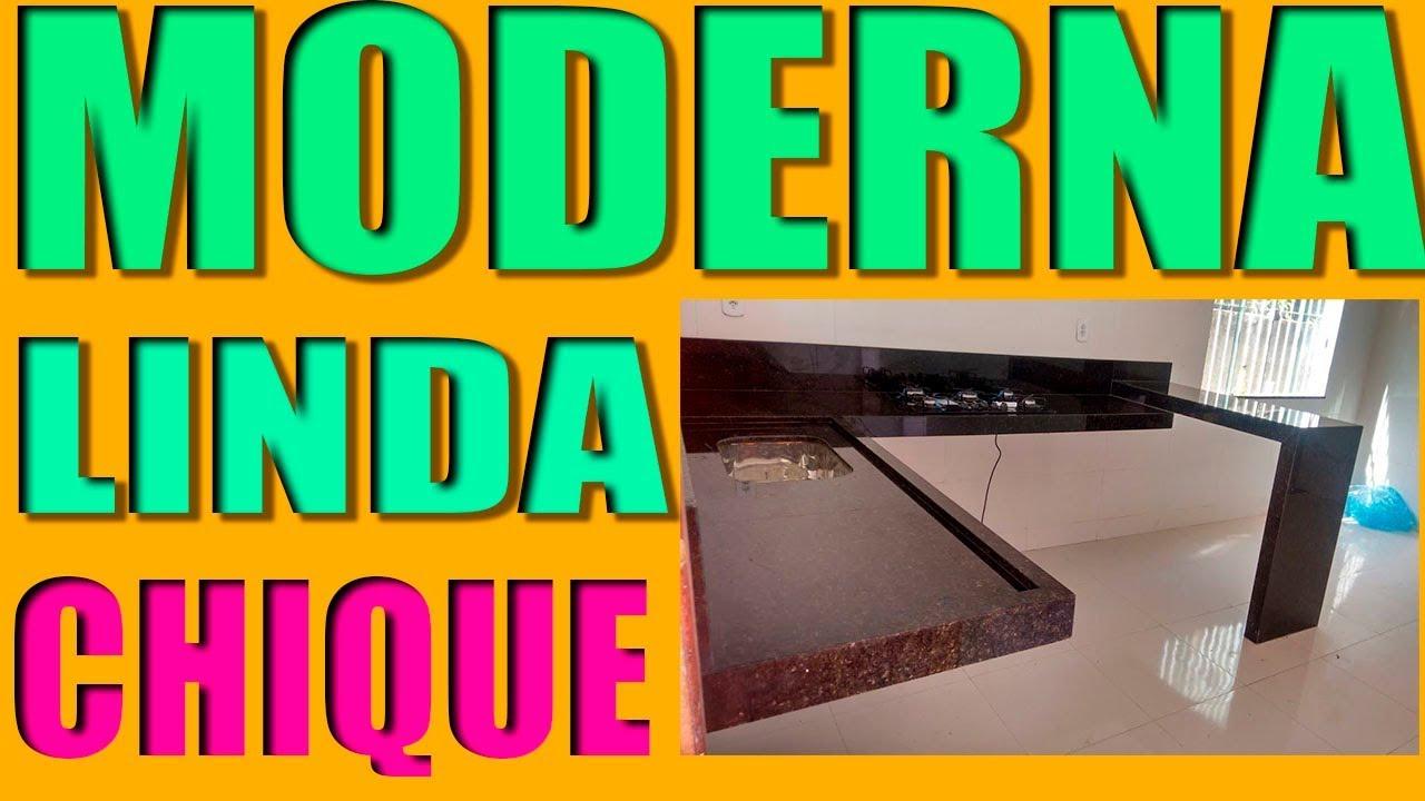 Cozinha em L com bancadaYouTube -> Pia De Banheiro Granito Verde Ubatuba