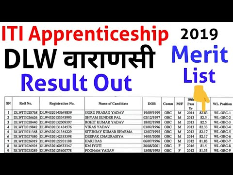 Railway DLW वाराणसी Merit List is declared | Apprentice merit list | DLW Apprenticeship Result