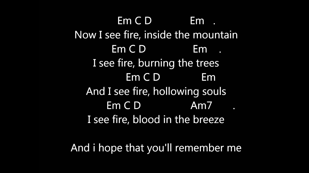 Ed Sheeran - I See Fire Lyrics - Guitar Chords - Metronome 76bpm - YouTube