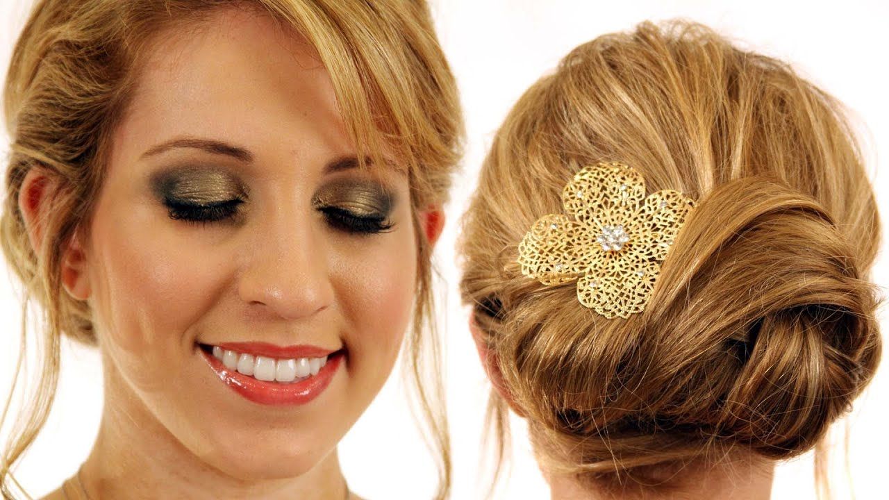 New Years Eve Hair And Makeup Tutorial Knot Updo Hairstyle