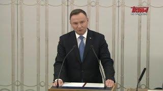 Przemówienie prezydenta Andrzeja Dudy wygłoszone podczas pierwszego posiedzenia Senatu X kadencji