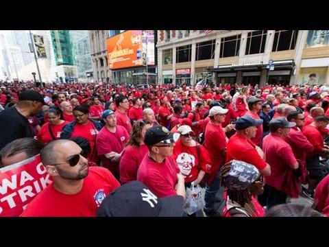 Striking Verizon Workers Block Midtown Manhattan