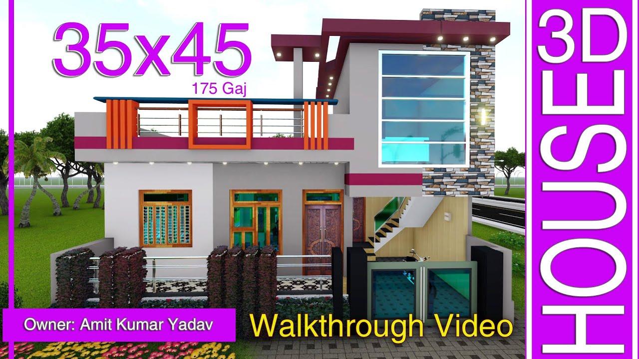 175 Gaj/Yards House || 35x45 Home design || Makan Ka Naksha || #LSHOMEDESIGN #singlefloor