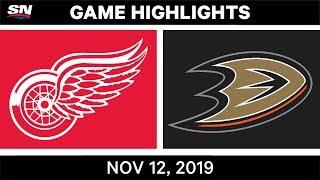 NHL Highlights | Red Wings vs Ducks – Nov. 12, 2019