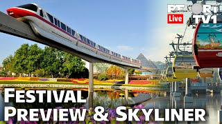 🔴Live: Epcot Flower & Gaŗden Festival Preview & Disney Skyliner Rides - Walt Disney World