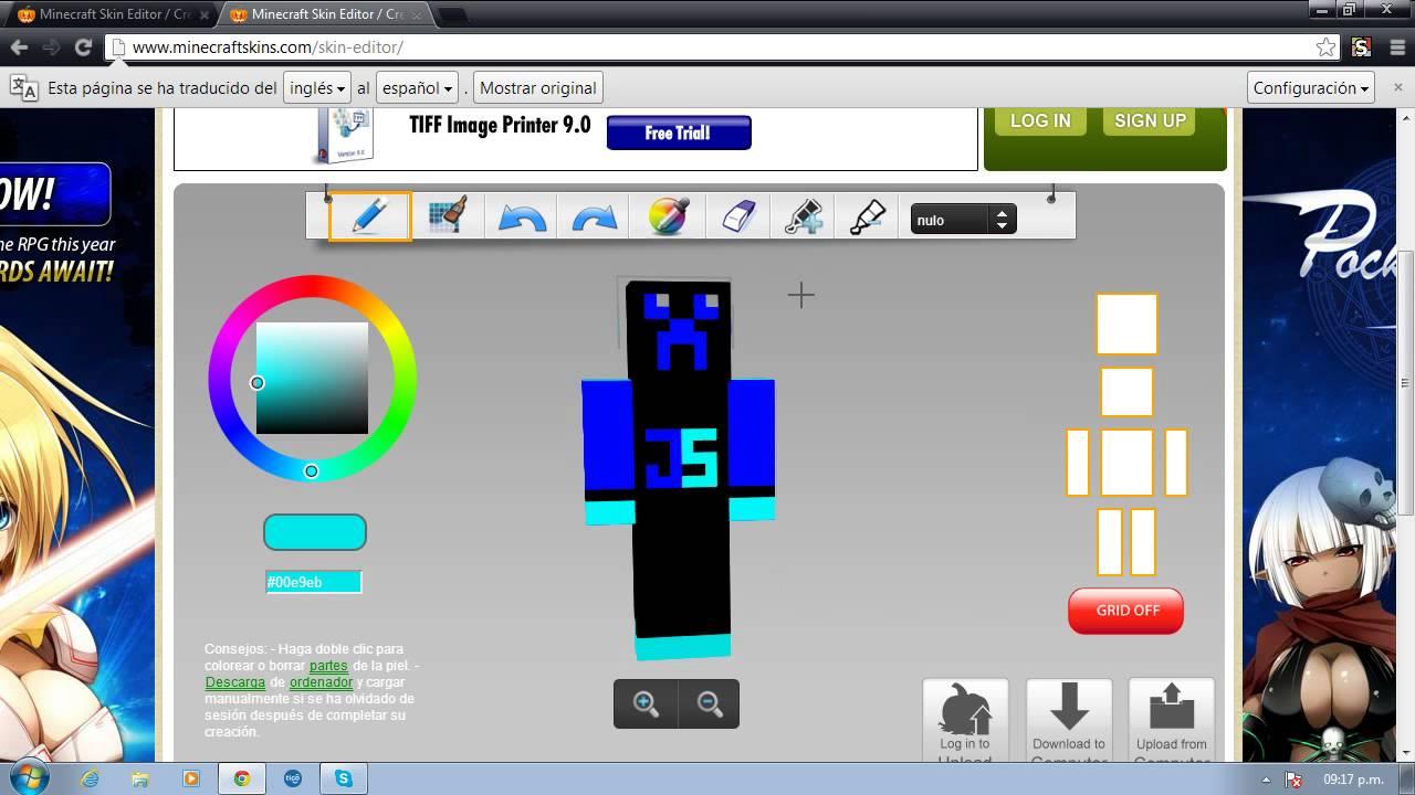 Como Poner Y Crear Un Skin Para Minecraft YouTube - Criar skin para minecraft pc