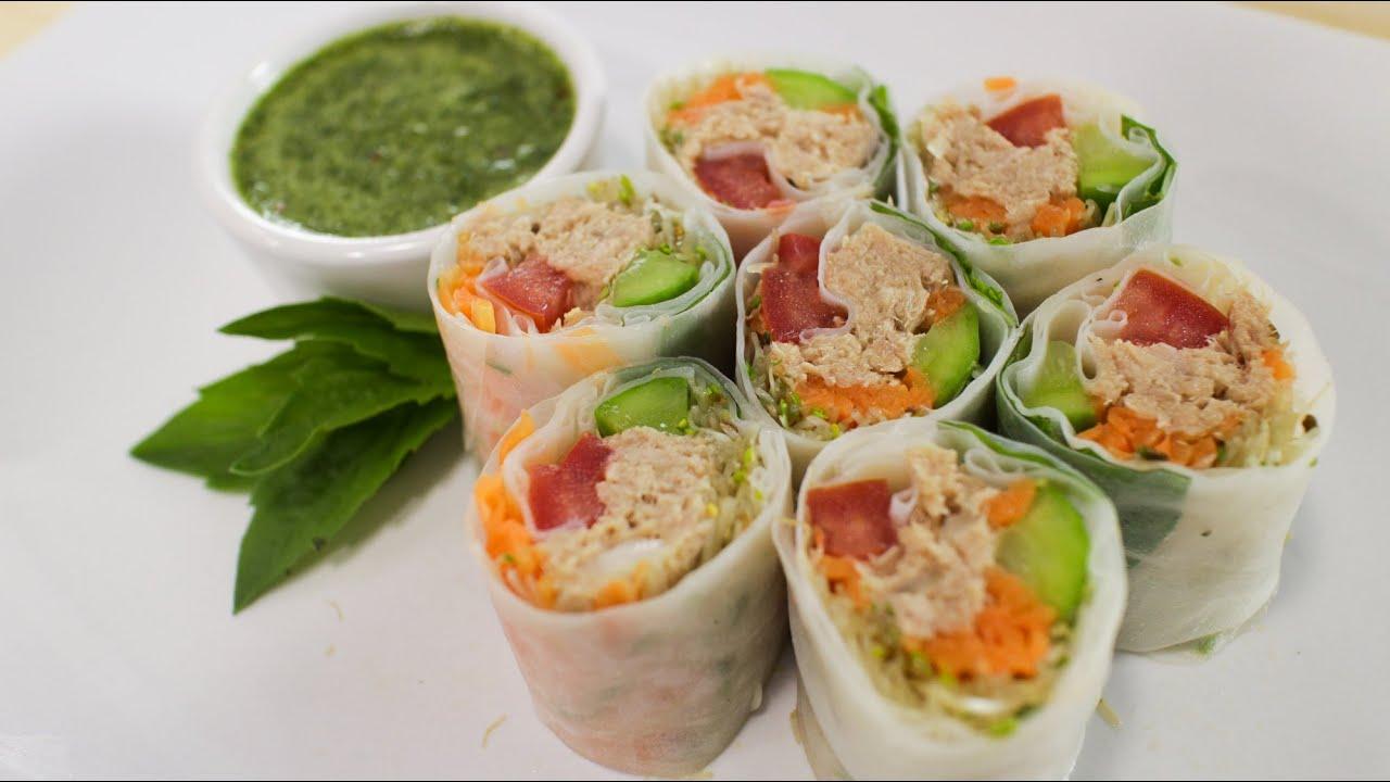 Fresh Tuna Spring Roll Recipe Hot Thai Kitchen Youtube