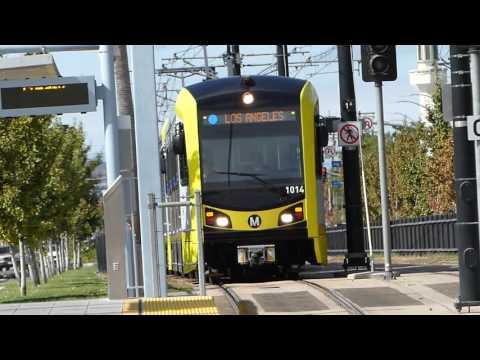 LA Metro Rail: 2015-16 Kinki Sharyo P3010 Expo Line at Expo Park/USC Station