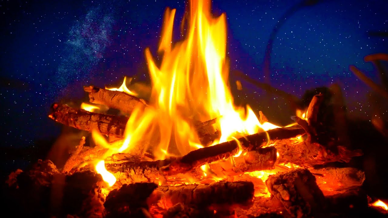 Campfire & River Night Ambience 10 Hours | Nature White Noise for ...