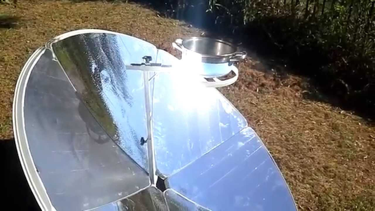 Concave mirror solar cooker youtube for Uses of mirror