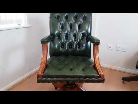 Large Green Leather Gainsborough Captains Desk Chair