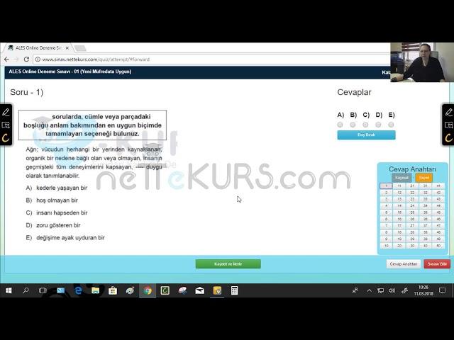 ALES Sözel Dersleri - Deneme - 1 / Online ALES Kursu - nettekurs.com - Uzaktan Eğitim Dershanesi