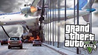 Огромный самолет разбился об мост в гта 5 Есть выжевшие Реальная жизнь gta 5 моды