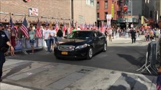 HIGH RANKING NYPD OFFICER'S CRUISER PATROLLING ON GREENWICH ST. DURING CEREMONIAL EVENT IN NYC.
