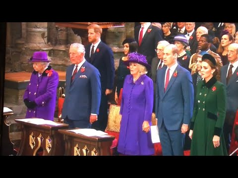 The Queen & British Royal Family ALL MOMENTS - Armistice Centenary Service - Westminster Abbey 2018