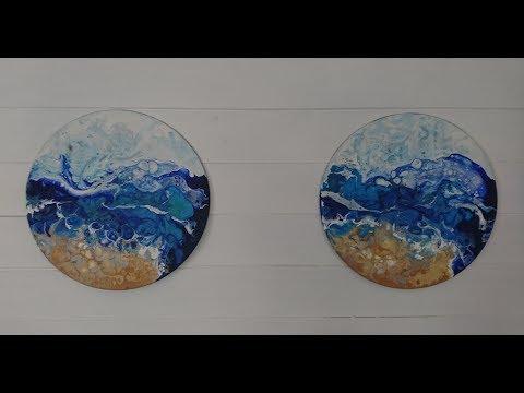 [034] Silent Fluid art Acrylic pouring techniques - Ocean waves