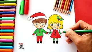 Cómo Dibujar Un NIÑO y Una NIÑA en NAVIDAD | How to Draw a Cute Boy and Girl in Christmas
