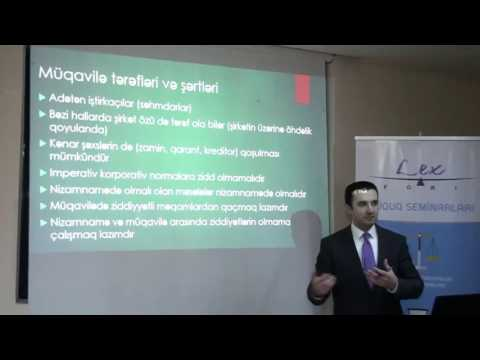 Shareholders agreements under Azerbaijan law - seminar. Emin Karimov, LLM