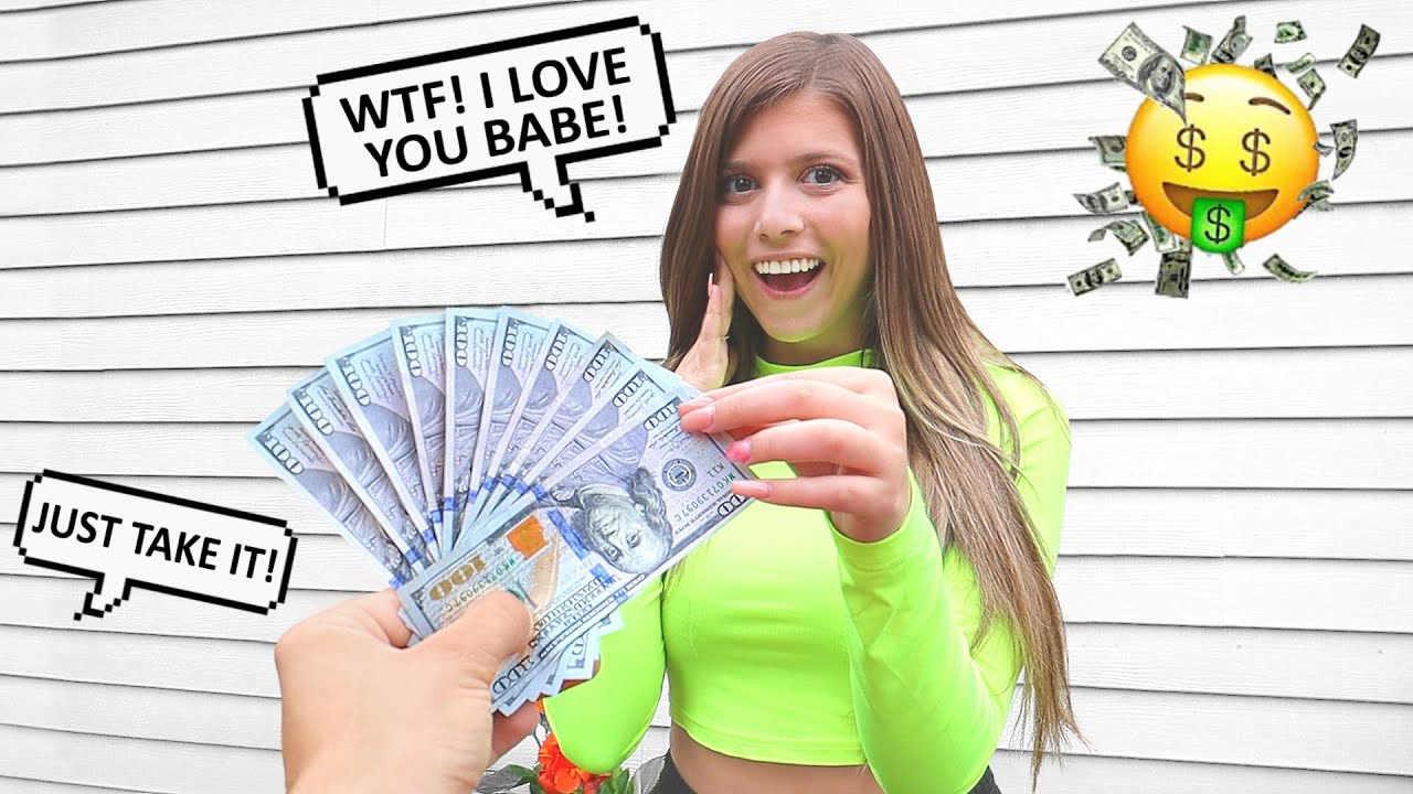 Giving My Girlfriend $1000 Every Time she Says I LOVE YOU!